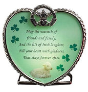Irish Candle Holder with Claddagh Shamrocks and an Irish Blessing
